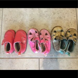 3 pairs of baby shoes, sizes 3 1/2, 4, and 4 1/2